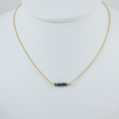 Collier Argent plaqué or jaune et 5 diamants noirs by LFDM