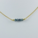 Collier argent doré or et 5 diamants bleus Gold Constellation by FDM