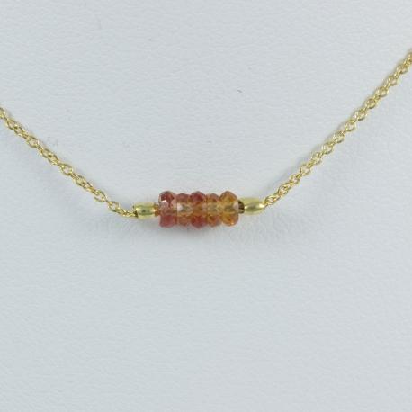 Collier argent plaqué or 5 saphirs orange foncés Gold Constellation by LFDM