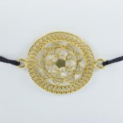 Bracelet mandala argent doré or jaune et cordon noir by LFDM - Collections Capsules