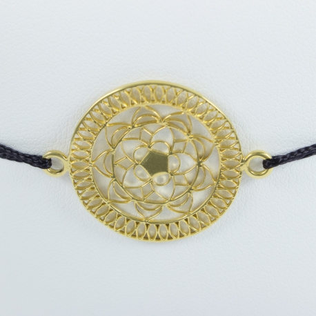 Bracelet mandala argent plaqué or jaune et cordon noir by LFDM - Collections Capsules