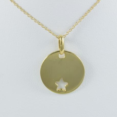 Collier plaque ronde et étoile argent 925 plaqué or by LFDM - Collections Capsules