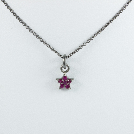 Collier et étoile argent rhodié rubis by LFDM