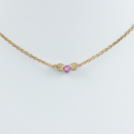 Collier saphir rose chaine argent plaqué or rose - Pink Star by LFDM Jewellery
