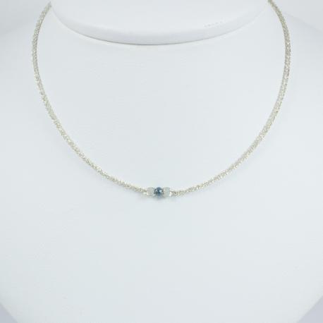 Collier diamant bleu chaine scintillante Frozen Blue Star by LFDM JEWELRY