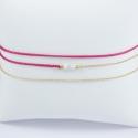 Bracelet wrap modèle Maeva perles akoya keshi et diamant gris doré or champagne et lien framboise by LFDM Fine Jewels