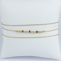 Bracelet triple tour rubis perles argent doré or champagne by LFDM - Fine Jewelry