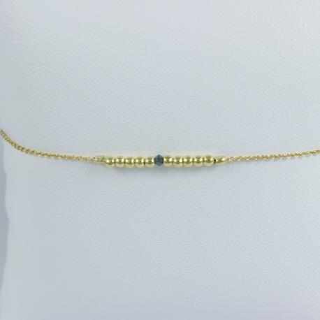 Bracelet perles argent plaqué or jaune et diamant bleu Gold Pearl Star by LFDM