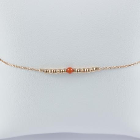 Bracelet corail et perles d'argent plaqué or rose by LFDM