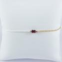 Bracelet Eugénie soie et chaine scintillante or champagne 3 rubis by LFDM Fine Jewels