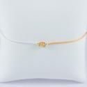 Bracelet Kaili coton abricot chaine fine argent 3 saphirs orange clair