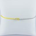 Bracelet saphir jaune chaine brillante grise et cordon jaune by LFDM Jewels