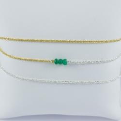 Bracelet triple tour émeraudes chaine scintillante argent et dorée by LFDM Jewels