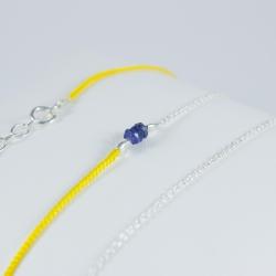 Bracelet wrap chaine argent lien jaune et saphirs bleu Dark Blue Star by LFDM Jewellery