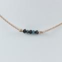 Collier diamants noir et bleu argent doré rose Pink Constellation by LFDM Stones