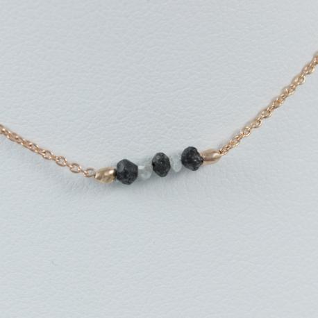 Collier diamants noir et gris argent doré rose Pink Constellation by LFDM Stones