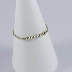 Bague perles intemporelles doré champagne et diamant gris