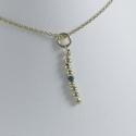 Collier perles intemporelles doré or champagne et diamant bleu by LFDM