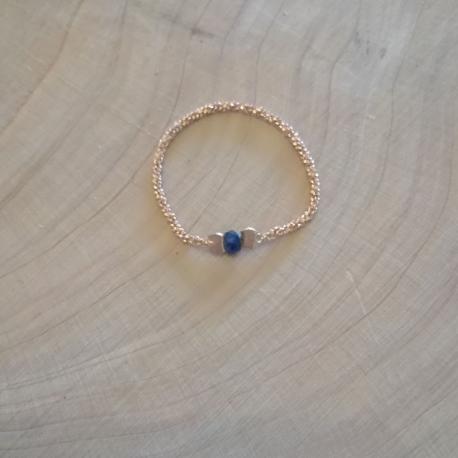 Bague fine saphir bleu doré or rose by LFDM Jewels