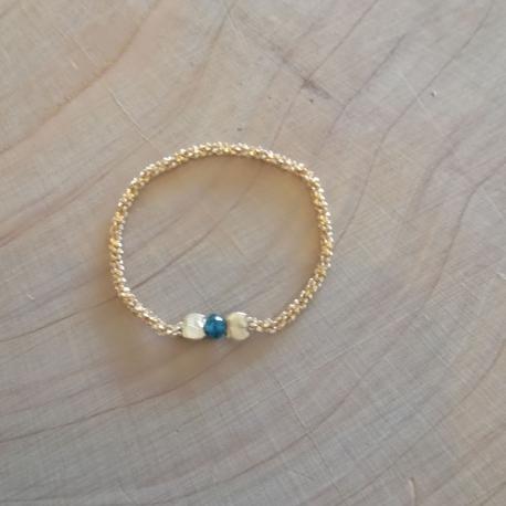 Bague diamant bleu chaine eclatante doré or champagne by LFDM J.