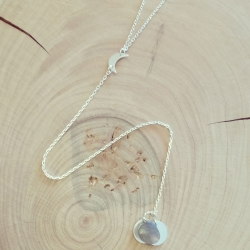 Collier long Labradorite modèle Lune argent massif by LFDM Jewels