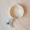 Bague lune argent et cristal de swaroski blue tropical by LFDM Jewels