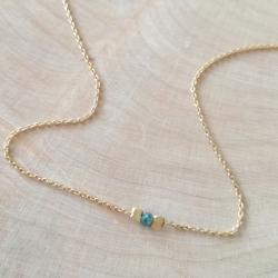 Collier argent doré et diamant bleu by LFDM