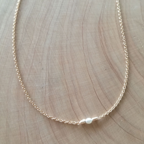 Collier argent doré or champagne et perle akoya keshi by LFDM Jewels
