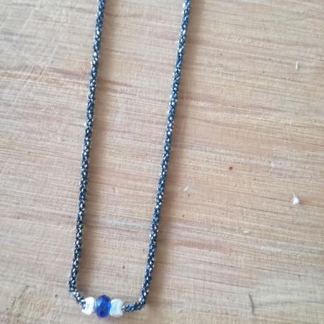 Collier saphir bleu chaine scintillante rhodié noire by LFDM Jewels