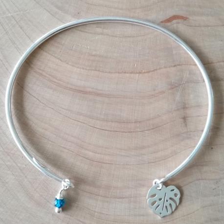 Jonc ouvert argent feuille de palmier et cristal bleu tropical de Swaroski by LFDM Jewels