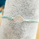 Bracelet charm's coquillage argent massif cordon turquoise by LFDM Jewellery