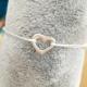 Bracelet coeur ajouré argent cordon écru by LFDM Jewels