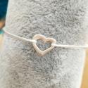 Bracelet coeur ajouré argent cordon blanc by LFDM Jewels