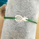 Bracelet grigri ananas argent cordon nylon vert clair by LFDM Jewels