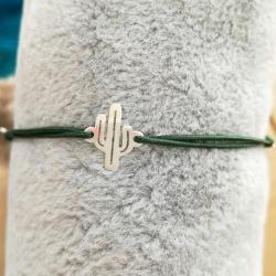 Bracelet lucky charm cactus argent massif et cordon nylon vert foncé by LFDM Jewels