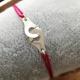 Bracelet menottes argent 925 et cordon fuschia by LFDM Jewels