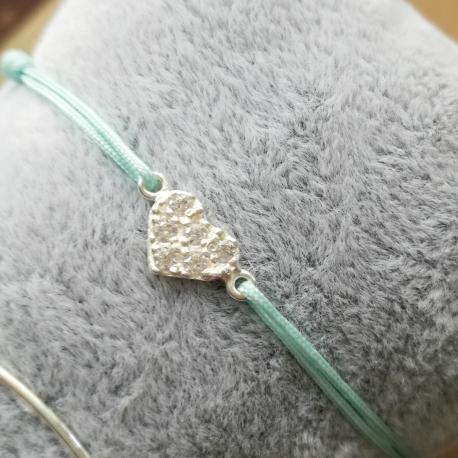 Bracelet coeur zirconium et argent lien turquoise by LFDM Jewels
