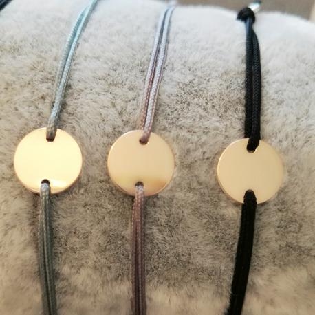 Bracelet médaille argent doré rose et lien foncés by LFDM Jewelry