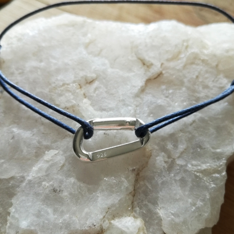 Bracelet mousqueton argent 925 sur cordon de couleur by LFDM Jewels