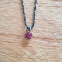 Collier etoile rubis chaine scintillante noire by LFDM JEWELS