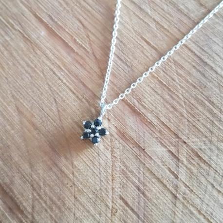 Collier etoile argent et diamant noir by LFDM Jewels