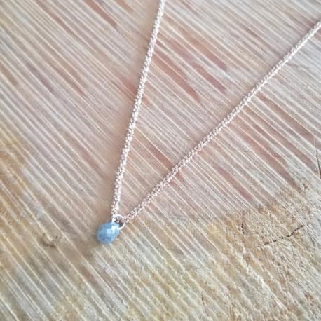 Collier goutte de diamant gris et chaine scintillante argent doré or rose by LFDM Jewels