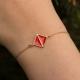 Bracelet plaqué or Art Déco Rouge coquelicot - L'Atelier d'Olivia