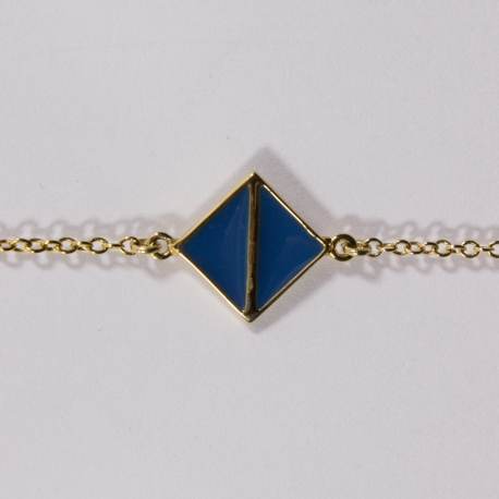 Bracelet plaqué or Art Déco Bleu Touareg - L'Atelier d'Olivia