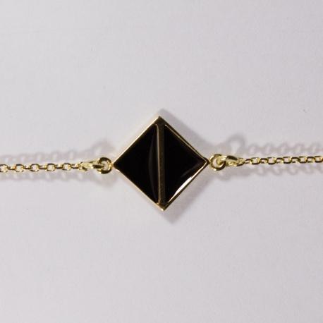 Bracelet plaqué or Art Déco noir - L'Atelier d'Olivia